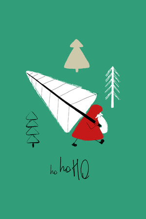 Hand drawn Christmas greeting card with funny Santa Claus stealing tree and text - ho-ho-ho.