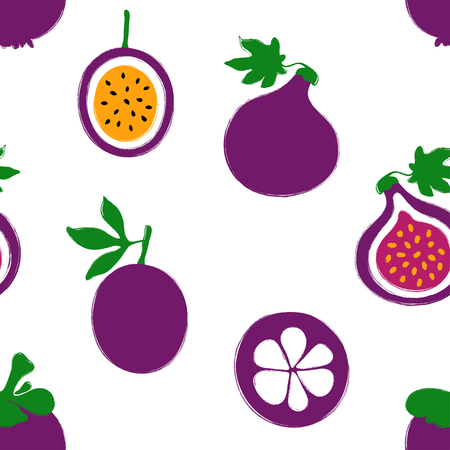 Abstract colorful fruits seamless pattern: mangosteen, fig and passion fruit. Hand drawn brush grunge exotic fruit background.