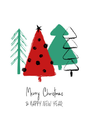 Hand drawn Christmas greeting card with funny grunge forest trees.