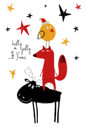 Hand drawn Christmas greeting card with funny bird, fox and moose standing on top of one another.