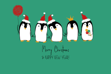 Hand drawn Christmas greeting card with cute penguins holding hand or wings.