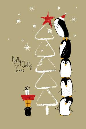 손으로 그린 인사말 카드를 서로 꼭대기에 서 서 크리스마스 트리를 장식하는 재미 있은 펭귄.