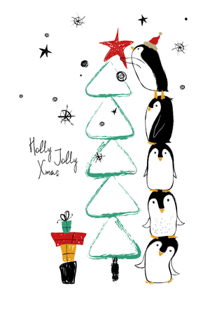 Hand drawn greeting card with funny penguins standing on top of one another and decorate the Christmas tree. Illustration