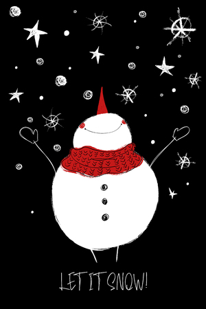 Hand drawn Christmas greeting card with funny smiling snowman enjoying the winter.
