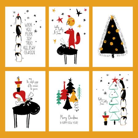 Jeu de cartes de voeux de Noël. Cartes de grunge dessinés à la main drôle avec des pingouins mignons d'arbre, de cerf, de renard. Banque d'images - 90107147