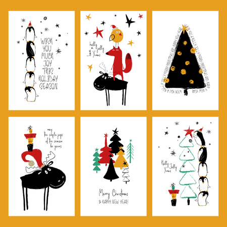 Set kerstkaarten. Grappige hand getrokken grunge kaarten met boom, herten, vossen en schattige pinguïns.