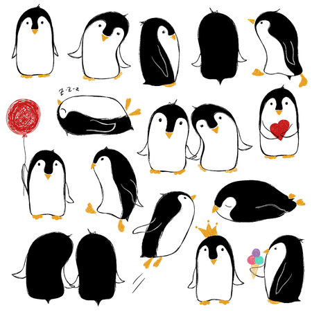 Hand drawn set of isolated funny penguins in different poses.  Vectores