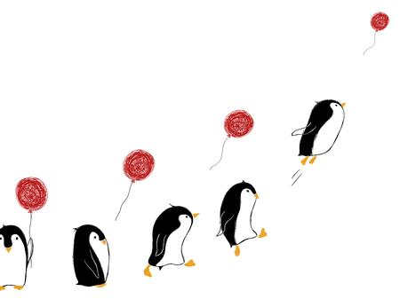 Hand gezeichnete Karte mit niedlichen Pinguinen und Luftballon. Lass es Konzept gehen.