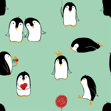 Hand drawn seamless pattern of cute penguins in different poses. Banco de Imagens - 90107150
