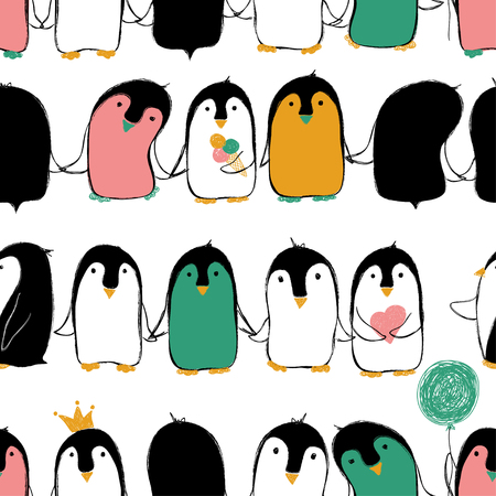 Hand drawn seamless pattern of cute penguins holding hands or wings.
