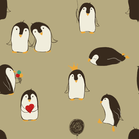 Hand drawn seamless pattern of cute penguins in different poses.