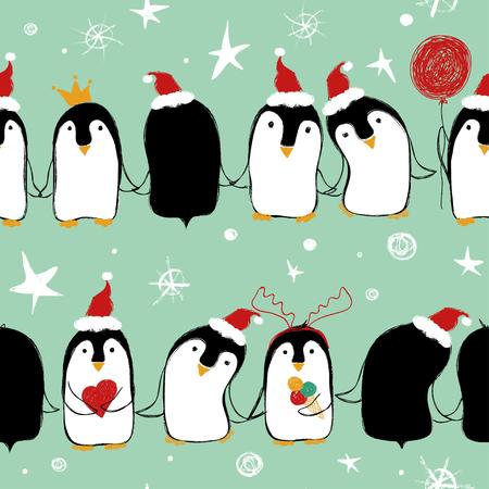 クリスマスかわいいペンギンが翼手を繋いでサンタさんの帽子のシームレスなパターン。  イラスト・ベクター素材