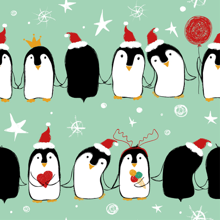 Christmas seamless pattern of cute penguins in Santa's hat holding hands or wings.