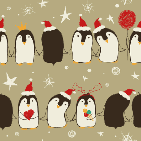 Christmas seamless pattern of cute penguins in Santas hat holding hands or wings.