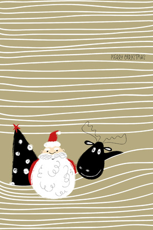 Hand drawn funny greeting card with sticking out Santa Claus, Deer and Christmas tree . Çizim