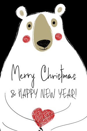 Hand drawn Christmas greeting card with funny polar bear holding red heart. 向量圖像