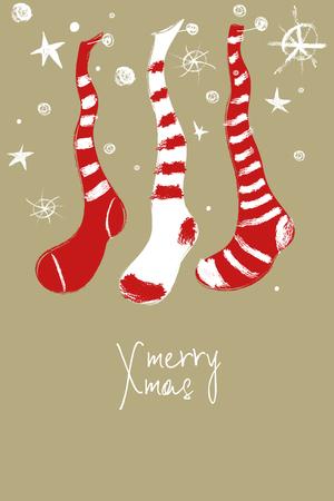 재미 있은 교수형 손으로 그려진 된 인사말 카드 크리스마스 장식 스타킹입니다. 일러스트