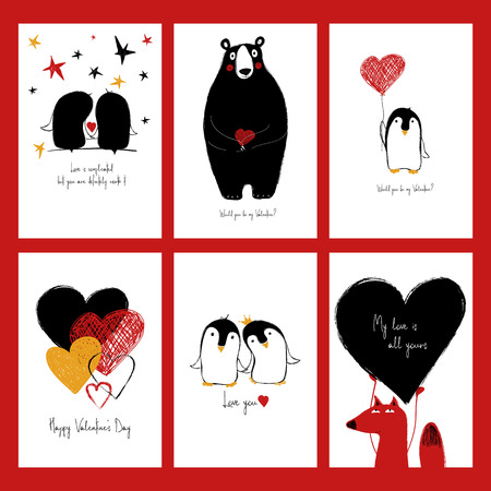 Set of love greeting cards with cute animals and funny touching set of love greeting cards with cute animals and funny touching phrases stock vector m4hsunfo
