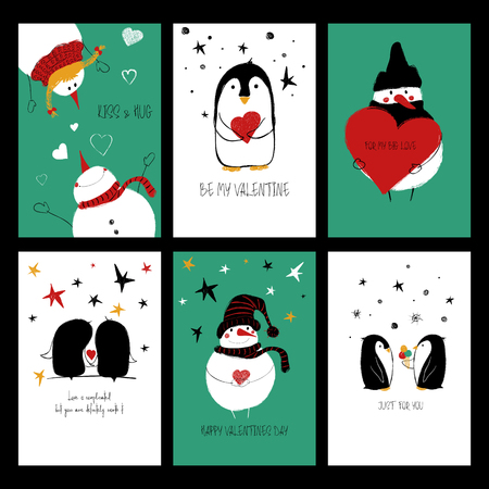 Set of love greeting cards with cute penguins, snowman and funny touching phrases. Banco de Imagens - 92296470