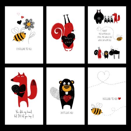 귀여운 동물과 재미 있은 감동적인 문구와 사랑 인사말 카드 세트. 일러스트