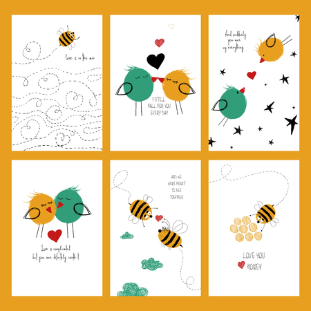 Set of love greeting cards with cute birds and bees. Collection of posters or cards and funny touching phrases for birthday, save the day, wedding, Valentines day, anniversary or just for sharing the feelings.