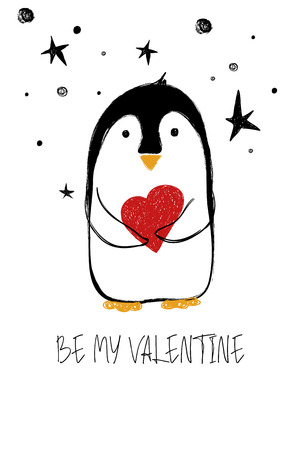 Love greeting card with cute penguin holding heart and text be my Valentine. Funny poster or card for birthday, save the day, wedding, Valentines day, anniversary or just for sharing the feelings. Ilustração