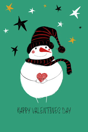 Love greeting card with cute snowman holding heart. Funny poster or card for birthday, save the day, wedding, Valentines day, anniversary or just for sharing the feelings. Ilustração