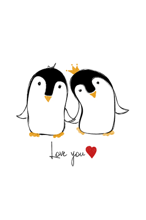 Love greeting card with cute couple of penguins holding hands. Funny poster or card for birthday, save the day, wedding, Valentine's day, anniversary or just for sharing the feelings.