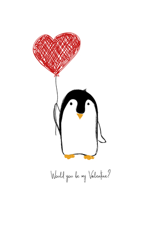 Love greeting card with cute penguin holding heart balloon. Funny poster or card for birthday, save the day, wedding, Valentines day, anniversary or just for sharing the feelings.