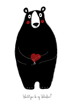 Love greeting card with cute bear holding heart. Funny poster or card for birthday, save the day, wedding, Valentines day, anniversary or just for sharing the feelings.