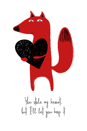 Love greeting card with cute fox holding heart. Funny poster or card for birthday, save the day, wedding, Valentines day, anniversary or just for sharing the feelings. Ilustração