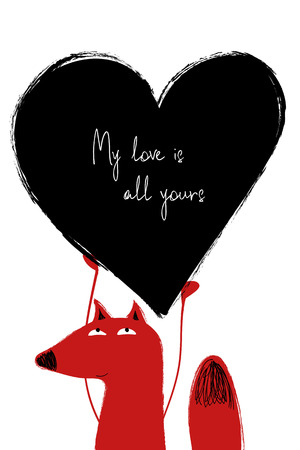 Love greeting card with cute fox holding big heart. Funny poster or card for birthday, save the day, wedding, Valentines day, anniversary or just for sharing the feelings. Ilustração
