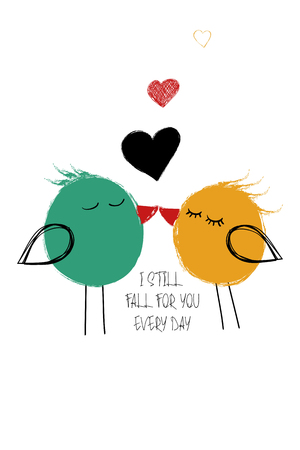 Love greeting card with cute couple of kissing birds. Funny poster or card for birthday, save the day, wedding, Valentines day, anniversary or just for sharing the feelings.