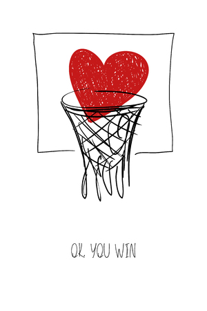Love greeting card with red heart in basketball basket. Funny poster or card for birthday, save the day, wedding, Valentines day, anniversary or just for sharing the feelings.