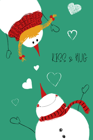 Love greeting card with cute couple of snowman and snowgirl. Funny poster or card for birthday, save the day, wedding, Valentines day, anniversary or just for sharing the feelings.