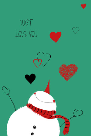 Love greeting card with cute snowman. Funny poster or card for birthday, save the day, wedding, Valentines day, anniversary or just for sharing the feelings. Ilustração