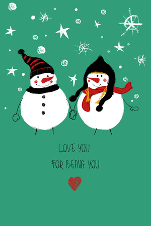 Love greeting card with cute couple of snowmans holding hands. Funny poster or card for birthday, save the day, wedding, Valentines day, anniversary or just for sharing the feelings. Çizim