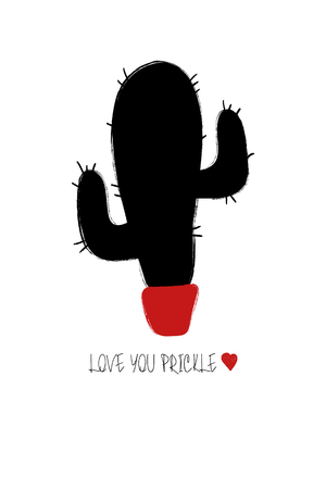 Love greeting card with black cactus. Funny poster or card for birthday, wedding, Valentines day, anniversary or just for sharing the feelings. Ilustração