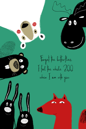 Love greeting card with cute animals. Funny poster or card for birthday, save the day, wedding, Valentines day, anniversary or just for sharing the feelings.