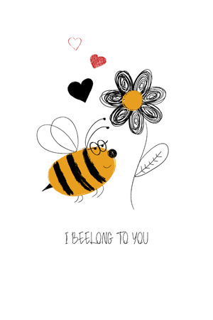 Love greeting card with cute bee and flower. Funny poster or card for birthday, save the day, wedding, Valentines day, anniversary or just for sharing the feelings.