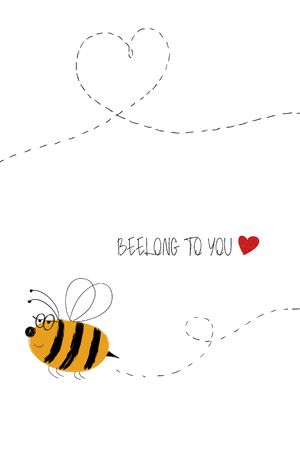 Love greeting card with cute flying bee. Funny poster or card for birthday, save the day, wedding, Valentines day, anniversary or just for sharing the feelings.