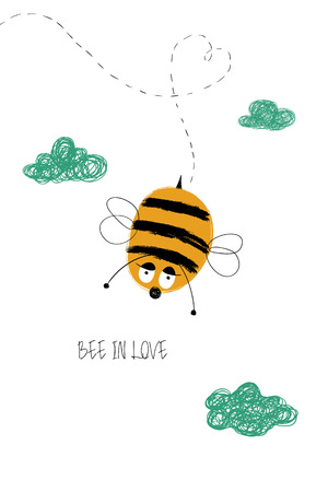 Love greeting card with cute enamored bee. Funny poster or card for birthday, save the day, wedding, Valentines day, anniversary or just for sharing the feelings.