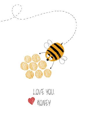 귀여운 꿀벌과 꿀 인사말 카드를 사랑해. 재미 있은 포스터 또는 카드 생일, 저장 하루, 결혼식, 발렌타인 데이, 기념일 또는 그냥 감정을 공유합니다.