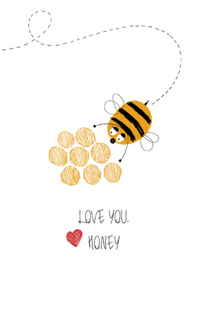 Love greeting card with cute bee and honey. Funny poster or card for birthday, save the day, wedding, Valentines day, anniversary or just for sharing the feelings.