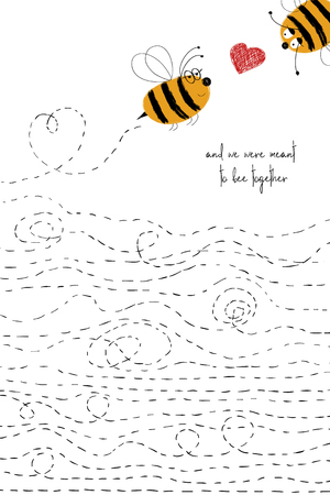 Love greeting card with cute couple of bees. Funny poster or card for birthday, save the day, wedding, Valentines day, anniversary or just for sharing the feelings.