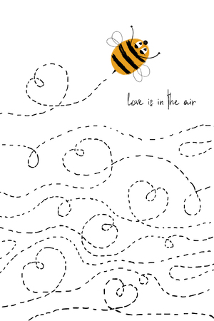 Love greeting card with flying cute enamored bee. Funny poster or card for birthday, save the day, wedding, Valentines day, anniversary or just for sharing the feelings. Ilustração
