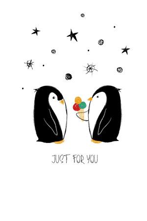 ペンギンのかわいいカップルと愛のグリーティングカード。誕生日のための面白いポスターやカードは、日、結婚式、バレンタインデー、記念日、