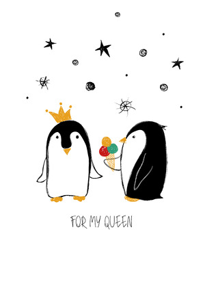 Love Greeting Card With Cute Couple Of Penguins Funny Poster