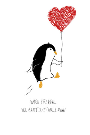 Love greeting card with dancing cute penguin holding heart balloon. Funny poster or card for birthday, save the day, wedding, Valentines day, anniversary or just for sharing the feelings.
