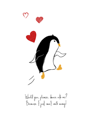 Love greeting card with dancing enamored penguin. Funny poster or card for birthday, save the day, wedding, Valentines day, anniversary or just for sharing the feelings.